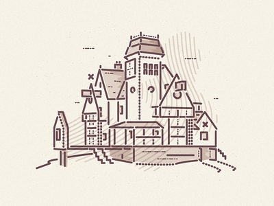 Top of the hill 80s film beetlejuice halloween horror thumbprint house colour and lines icon illustration