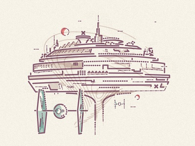 The Imperial City world station flying starwars colour and lines icon illustration
