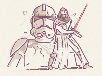 Awakening the force film evil good trooper lucas disney awakens force starwars colour and lines icon illustration