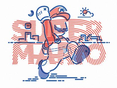 Mega Mario thumbprint star lettering nintendo super mario icon lines colour illustration