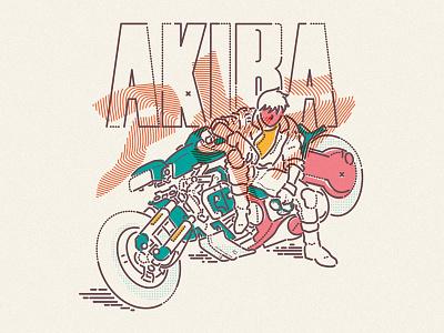 Akira classic 1988 icon motorbike anime lettering colour and lines thumbprint illustration akira