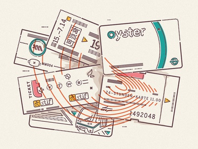 Tickets travel underground tickets thumbprint colour and lines icon illustration