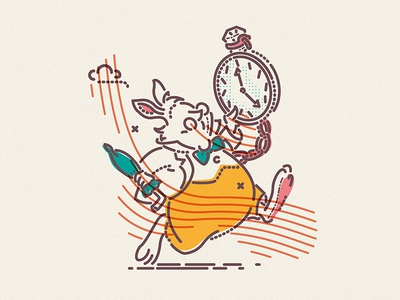Happy Easter rabbit fall character motivate wonderland alice thumbprint icon colour and lines illustration