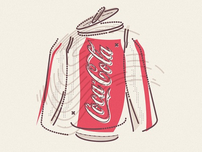 CocaCola 4D icon commerce shop can exploded usa cocacola drink lettering thumbprint colour and lines illustration