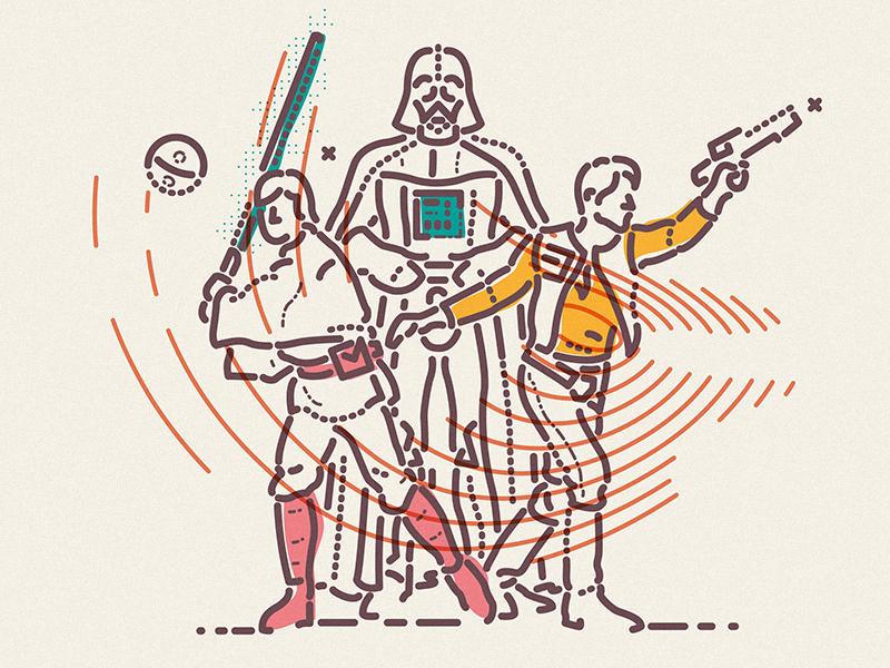Go team icon darth vader skywalker hans solo light saber usa sci-fi starwars thumbprint colour and lines illustration