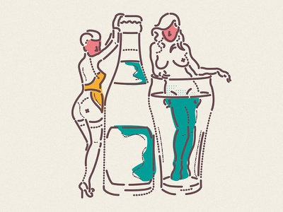 Refreshingly 50s woman thumbprint colour and lines line symbol icon drinks character pepsi cocacola illustration