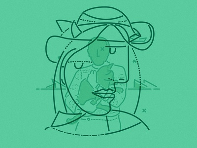 Pablo character minimal icon thumbprint colour and lines illustration surrealist painter picasso