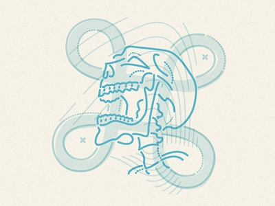 Pirate commander apple command character pirate skull thumbprint colour and lines illustration