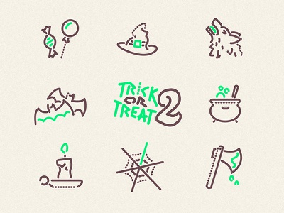 Trick or Treat 2 Icons vector icon illustration wolf cauldron axe web spider candle bats witch