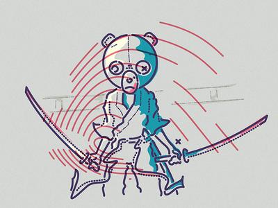 Afro Samurai teddy samurai afro character man boy thumbprint colour and lines illustration