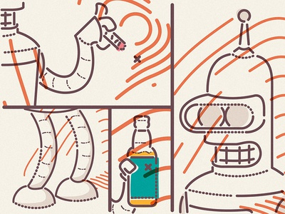 Bendering beer symbol icons characters thumbprint colourandlines futurama bender illustration