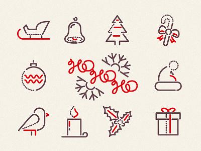 Ho Ho Ho - Icons ui vector santa holly snow xmas christmas thumbprint colour and lines symbols icons illustration
