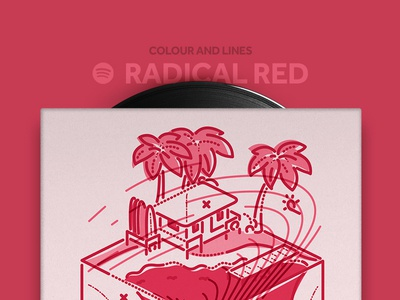 Radical Red Mixtape sounds icon illustration thumbprint colour and lines radical red mixtape music spotify