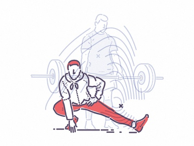 Heavy Liftin' gain symbol icon training lifting weight thumbprint colour and lines illustration