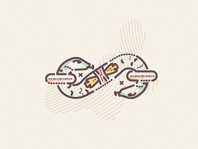 Snake eyes logo brand military buckle symbol icons characters thumbprint colourandlines animal snake illustration