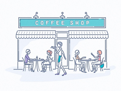 Coffee Shop coffee retail fintech financial symbol icons characters thumbprint colourandlines style brand illustration