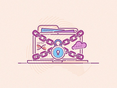 Ownership lockout thumbprint lines minimal graphic icon chain ownership data care health illustration