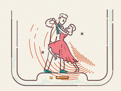 X Dance character woman man thumbprint colour and lines tech notch apple dancing brand illustration