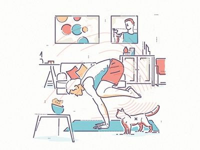 The Crow cat thumbprint colour and lines yoga animal character health mental wellness fitness illustration