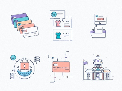 FinTech Icons ecommerce credit identity icons colourandlines style learning bitcoin tech bank brand illustration