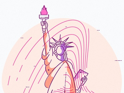 US of A icon vector minimal lines graphic colour liberty statue usa america new york illustration