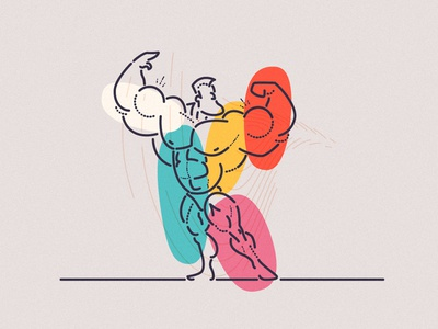 Working out vibrant colourful thumbprint illustration minimal lines shapes mindfulness workout mental health muscle