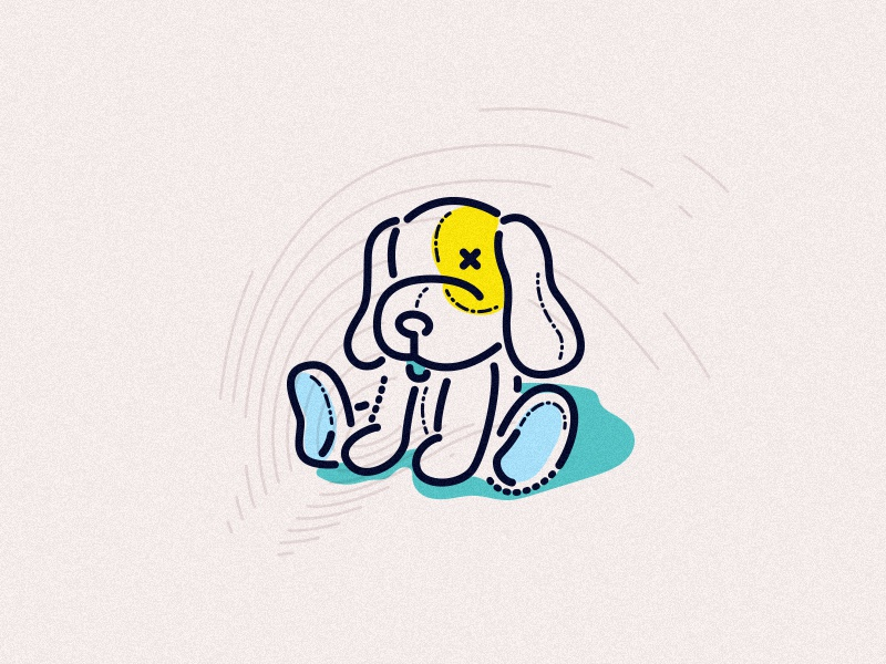 Ted james oconnell childhood character toy thumbprint lines graphic icon teddy illustration