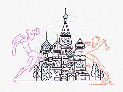 The Kremlins james oconnell character thumbprint minimal lines building kremlin russia world cup sport football illustration