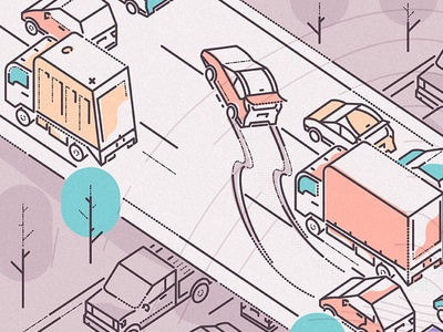 Traffic Jam james oconnell thumbprint lines muted character truck jam crash automobile driving race illustration