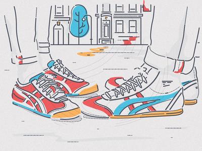 Onitsuka Tiger james oconnell illustration sneakerhead fashion woman man thumbprint minimal lines asics trainer sneaker