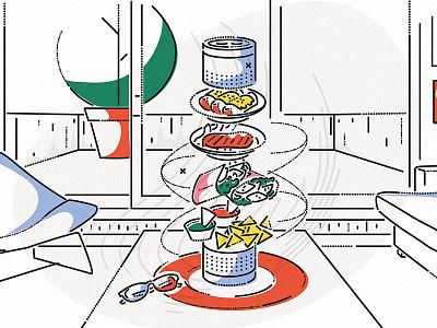 Alexa Food Choices aaa james oconnell food ai alexa amazon lines minimal thumbprint colour and lines illustration