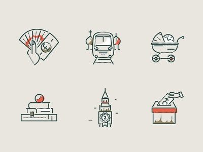 Scouting icons equal ui james oconnell editorial colour and lines thumbprint icons minimal lines scouts illustration