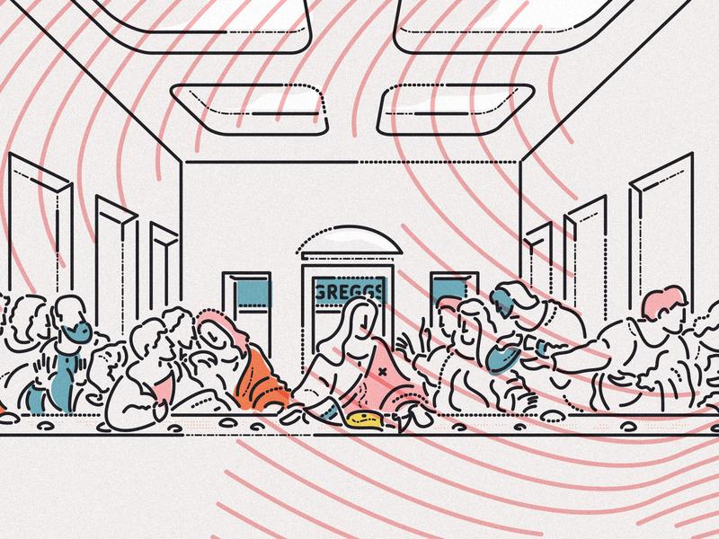 The last slice illustration character james oconnell thumbprint lines minimal food pastry greggs jesus last supper festive