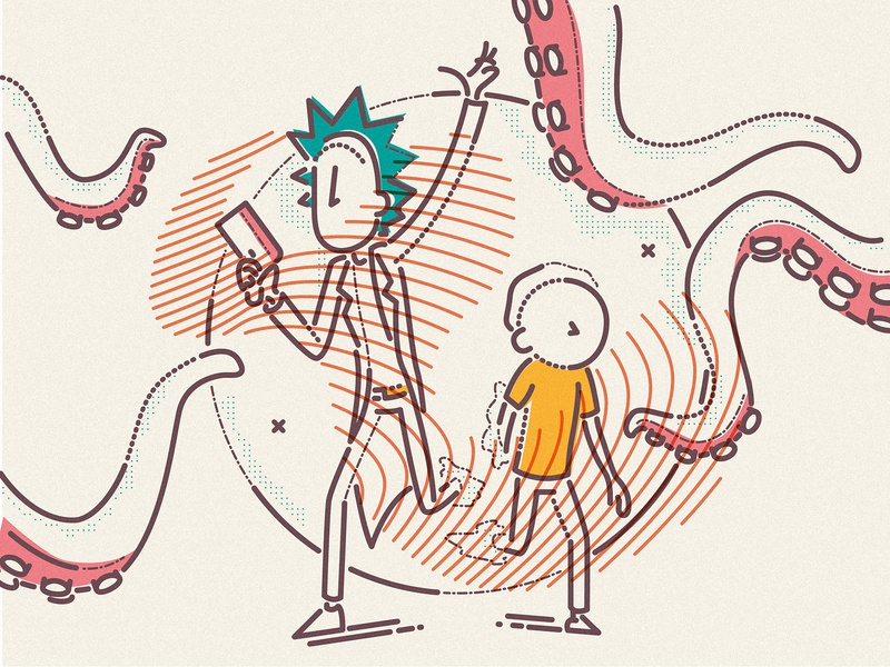 Exploring new worlds adventure sci-fi brand humour cartoon james oconnell thumbprint minimal linear lines illustration rick and morty