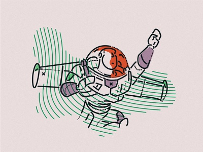 Going beyond james oconnell woody brand lightyear buzz toy story lines character minimal colour and lines thumbprint illustration