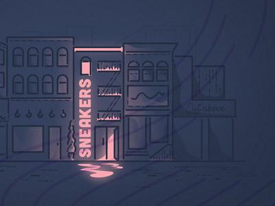Sneaker Street buildings sneakerhead james oconnell lines city landscape store finance fintech sneaker illustration