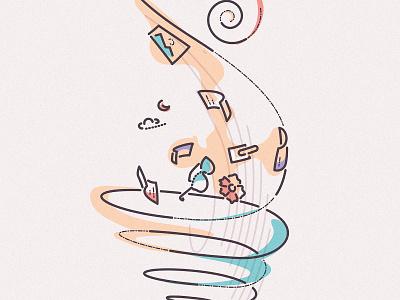 Swirly vortex swirl thumbprint holiday minimal lines travel editorial illustration