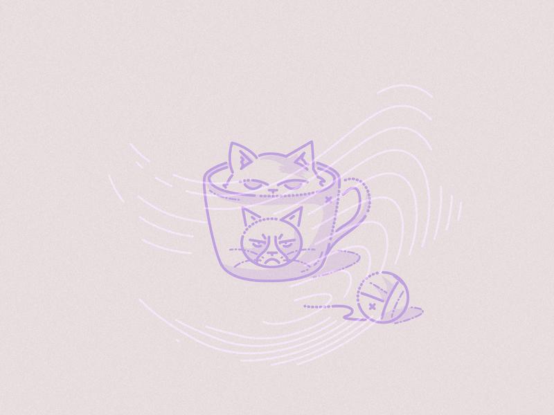 Grumpy cat colourandlines james oconnell minimal lines grumpy cat thumbprint meow illustration character cup cat