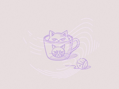 Grumpy cat colourandlines james oconnell minimal lines grumpy cat thumbprint meow illustration character cup cat