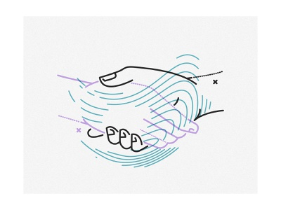 Shake It Baby james oconnell minimal thumbprint lines shaking hands ueno illustration
