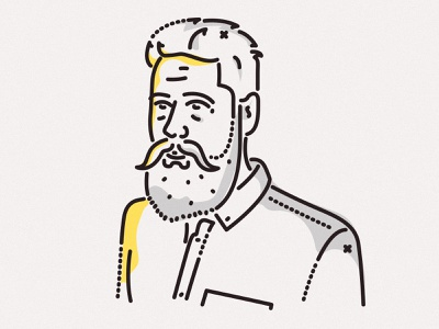 The mighty beard tech james oconnell serieseight colour lines minimal portrait profile illustration avatar beard