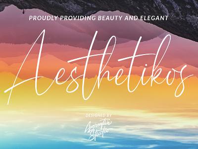 Aesthetikos Signature Font photography logo cosmetics logo magazine logotype branding modern