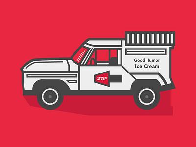 Goodhumor Truck ice cream truck junk in my trunk beach illustration car red