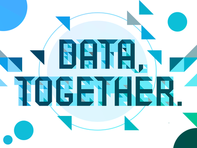 Data Together typography circles triangles blue abstract