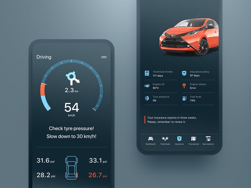 Car Insights App through OBDII apple ios design ui modern flat mobile obdii obd driving tyres engine app design speedometer gauges automotive car dashboard app