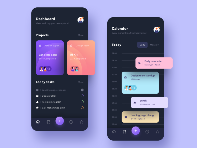 Busy day app ui design