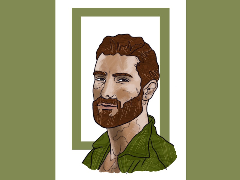 man photoshop postcard beard man caracter design portrait illustration design poster