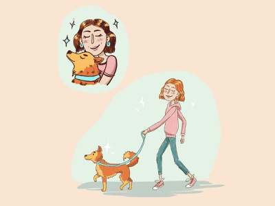 girl with a dog girl illustration dog photoshop illustration design caracter design girl character
