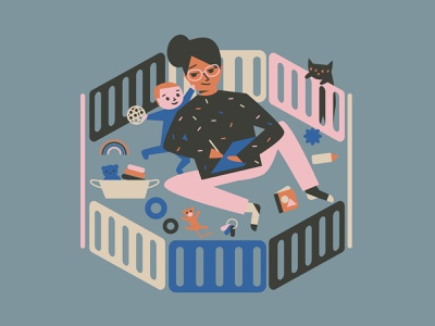 Working Mom parenthood working parents working from home illustration
