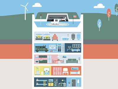 Bunker Detail WIP covid19 bunker detail infographic editorial illustration illustration